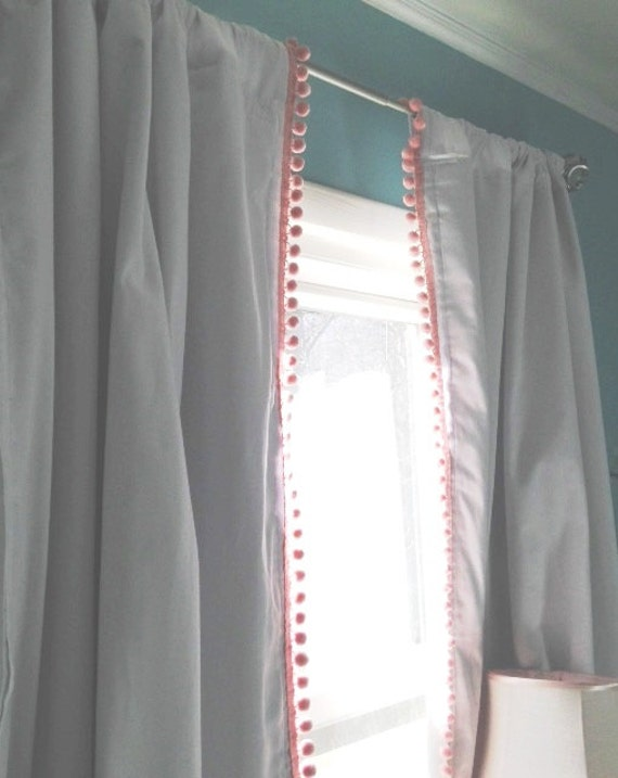 White Blackout Curtain With Pink Pom Trim 84 On Sale