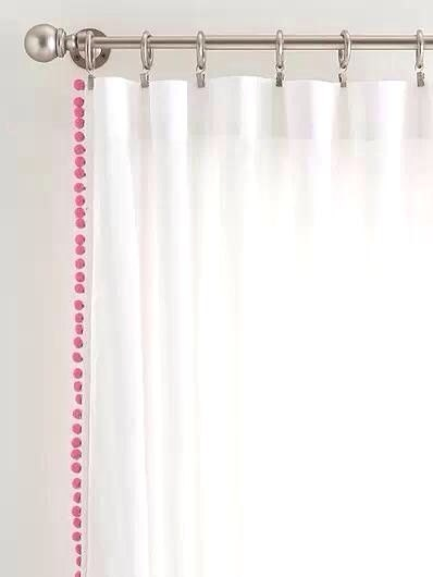 Classic White Curtain With Pink Pom Pom By Chesapeakecottage