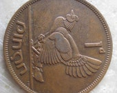 1942 Ireland, 1 Pingin Bronze Coin, Clairseach and Hen with Chicks