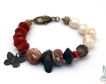 Sleepy Bambi - art, mixed media, bracelet in brown/orange with artisan beads, freshwater pearls, Czech glass, wood and carnelian