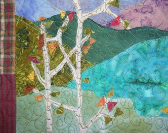 Miniature quilted wallhanging of Colorado mountain scene
