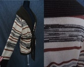 Earthy Striped Space Dyed Vintage 1970's BOHO Wrap Cardigan Sweater M L