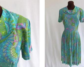 Vintage 60s Dress Blue Multi Mod Print Handmade Size S Small Figure Flattering