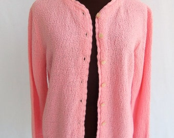 Vintage 60s Cardigan Sweater Pink Knit Acrylic Size M