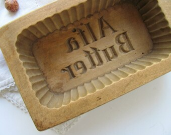 Vintage Alfa Butter Mold Wooden Press Stamp Carved Wood One Piece Fluted Primitive Utensil Kitchen Decor Trinket Tray Box Country Farm Art