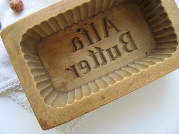 Vintage alfa butter mold wooden press stamp carved wood one