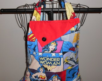 Femme Power Women's Apron with Bat Girl, Wonder Woman and Super Girl