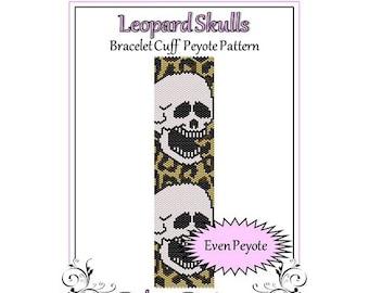 Bead Pattern Peyote(Bracelet Cuff)-Leopard Skulls