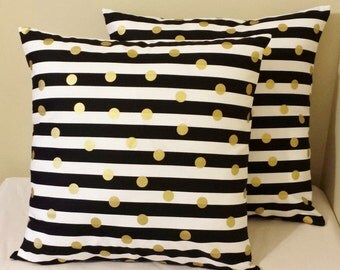 Set of 2 Black white striped gold polka dots pillow covers Euro shams 26 x 26 geometric design bed