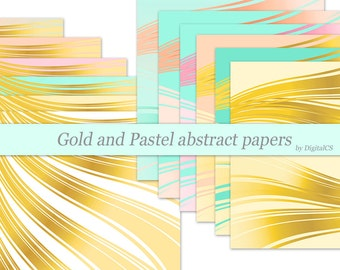 Gold digital paper Gold wedding digital paper Gold paper Printable paper gold and pink gold and blush gold and peach gold and mint