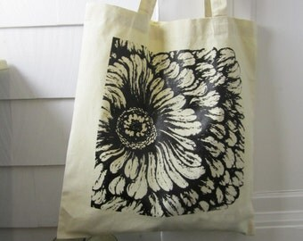Black Flower Tote Bag - Cotton Canvas Tote Bag - Screen Printed Flower Drawing Reusable Bag - Book Tote - Owl Bloom