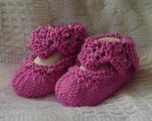 Hand knit baby booties - Bootielicious - Rose Pink
