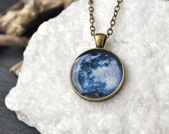 Moon necklace - space necklace, space moon jewelry, long chain brass moon necklace, astronomy moon planet galaxy vintage - ready to ship