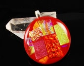 round red dichroic glass pendant