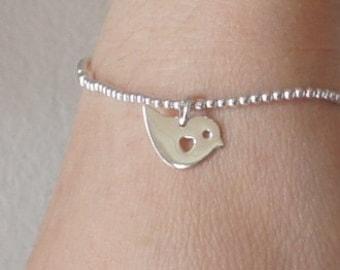 Sterling Silver Bird Bracelet, Stretch Bracelet, Charm Bracelet, Birthday Gift,  Kids Jewelry, Children's Jewelry
