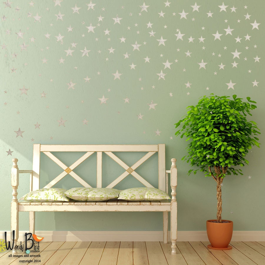 Silver stars wall decals for outer space nursery decor zoom amipublicfo Gallery