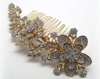 Gold bridal hair comb, gold crystal comb, hair accessory, flower rhinestone hair comb 15% off - HC02