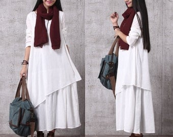 Casual Loose Fitting Long Sleeved Cotton Long Dress Blouse-Women Maxi dress LYQ034