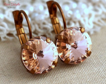 Blush pink earrings drop earrings, Blush pink Crystal earrings, Light peach Bridal earrings Blush drop earrings Bridesmaids blush earrings.