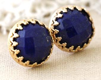 Lapis earrings, Lapis lazuli Gemstone stud earrings, Blue navy Gemstone studs, Gold filled earrings,  Gift for woman, Lapis gold earring.