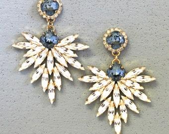 Blue Navy Chandelier Earrings,Statement Blue Navy Swarovski Chandelier Earrings Crystal Bridal Earrings,Bridal Navy Blue Chandelier Earrings