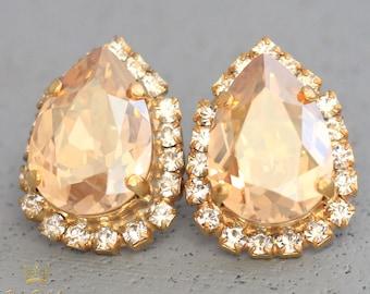 Champagne Swarovski Earrings Champagne Estate Earrings Champagne Teardrop Bridal Earrings Swarovski Stud Earrings, Bridesmaids Earrings