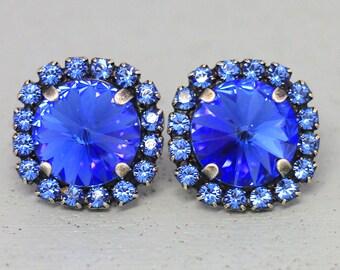 Blue Stud Earrings, Sapphire Stud Earrings, Swarovski Blue Earrings, Blue Navy Earrings, Bridal Blue Earrings, Sapphire Bridesmaids Studs