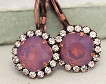 Purple Drop Earrings,Lavender Swarovski Crystal Earrings,Violet Crystal Drop Earrings,Bridal Lilac Earrings,Purple Grape Bridesmaid Earrings