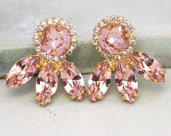 Blush Earrings,Swarovski Blush Earrings,Bridal Blush Pink Earrings,Bridesmaids Earrings,Gift For her,Blush Bridal Swarovski Stud Earrings