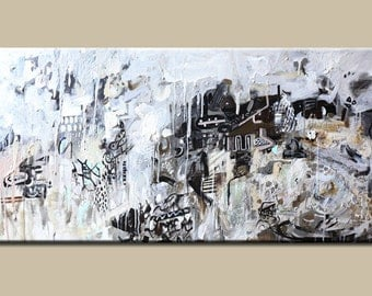 Black and white painting, abstract art painting ,painting on canvas, Abstract painting,Original Painting,Acrylic Painting-modern painting