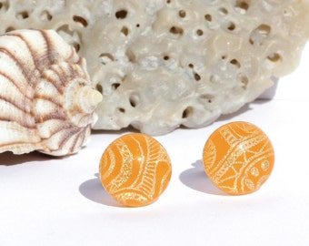 "Small Dichroic Glass Stud Earrings, Fused Glass Jewelry, Sterling Silver Posts - Spring Colors, Tangerine, Gold, 3/8"", 10mm (Item #30877-E)"