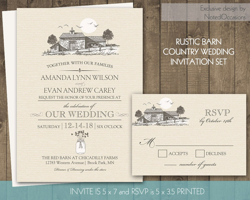 Country Rustic Wedding Invitations: Country Wedding Invitation Outdoor Barn Wedding By