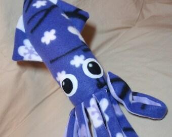 Made to Order LeeLoo the Purple Fleece Squid - Plush Stuffed Ocean Marine Animal