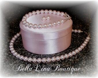 Beautiful Swarovski Crystal Pink Pearl Set - Necklace Bracelet and Earring Set