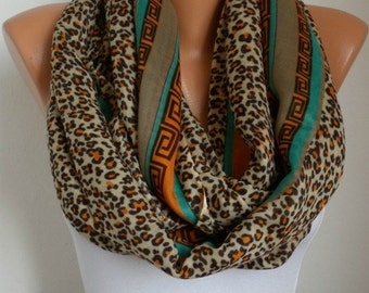 Burnt Orange & Brown Leopard Print Infinity Scarf Shawl Circle Loop Scarf Gift For Her Women Fashion Accessory Gift for Teacher