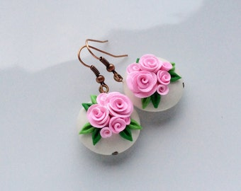 Pink rose earrings, lentil bead earrings, polymer clay earrings, rose bead earrings, wedding earrings