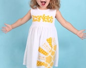 Sun Dress, Girl's Spring Dress, Sun Applique Dress, Personalized Dress- You Choose Dress Color and Sleeve Length