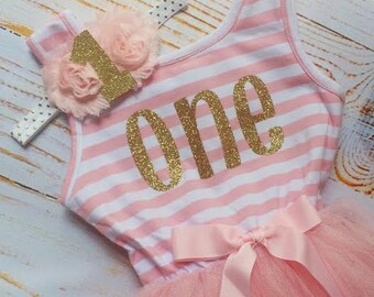 Birthday Gold and Pink Tutu Dress