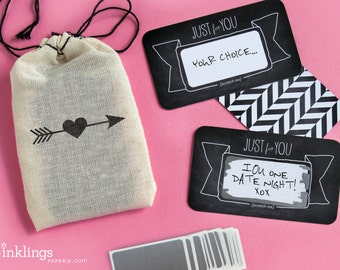 24 Scratch-off Love Notes or Valentine's Day Love Coupons // Mini Cotton Drawstring Bag