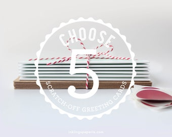 Choose 5 Scratch-off Greeting Cards // Mix and Match