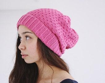 slouch knit winter hat organic SILJE - dahlia LAST ONE