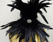 Black Raven Feather Collar High Neck Gothic Costume Necklace  Custom made 4 U