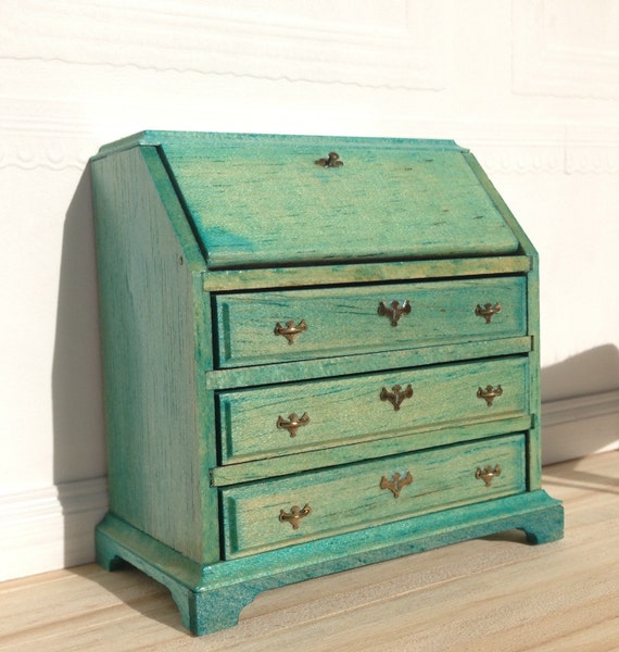 Mint green or robins egg blue hand stained slant top desk