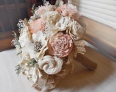 Rustic Garden Pink Bridal Bouquet, Sola Flowers, Burlap, Lace.  Made to order.