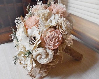 Will Ship in 4 weeks ~~~ Rustic Garden Pink Bridal Bouquet, Sola Flowers, Burlap, Lace.
