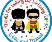 Brothers Superhero Personalized Stickers - Birthday Stickers, Party Favor Stickers, Comic, Twins - Choice of Size