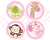 """Printable """"Jungle Girl Animals"""" 4 inch Circle Decorations/Stickers Instant Digital Download"""