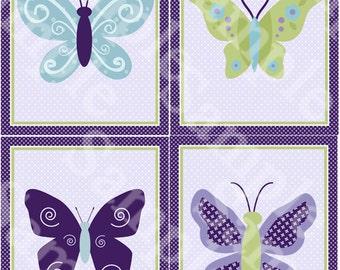 "Set of 4  Unframed ""Beautiful Butterfly/Butterflies/Purple/Green"" 8x10 inch Linen Look Nursery Wall Art Prints Baby Children Kids Decor"