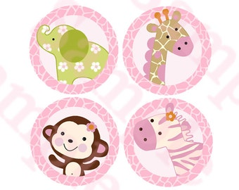 "Printable ""Jungle Girl Animals"" 4 inch Circle Decorations/Stickers Instant Digital Download"