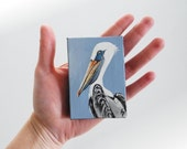 Pelican ACEO painting, shore bird painting, beach house seaside art, miniature canvas art original